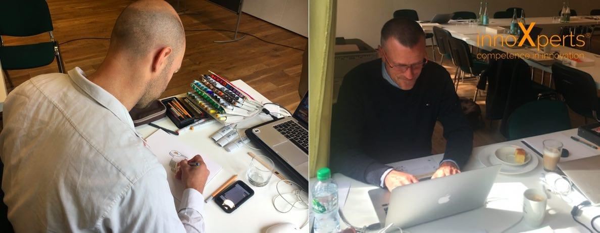 Neben dem Moderator gehören der Designer und die Dokuassistenz zum Inventar eines InnoCamps.