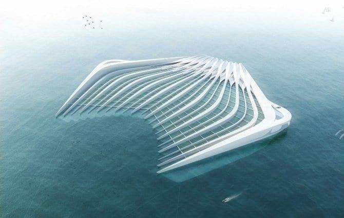 Eine schwimmende Plattform, deren spezielle Bauweise es ermöglicht, Plastik und Plastikpartikel aus dem Wasser zu filtern.